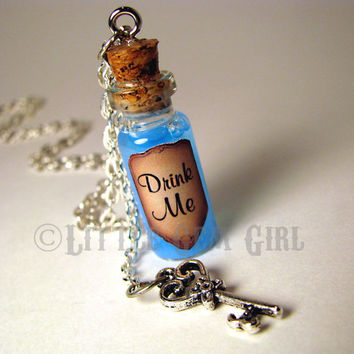 Drink Me Alice in Wonderland - Glass Bottle Cork Necklace with Key - Potion Vial Charm - Blue Liquid Shimmer - Magic Spells