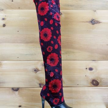 "Mac J Black Cherry Stretch Velvet Red Floral OTK Stocking Boots 4"" High Heel"