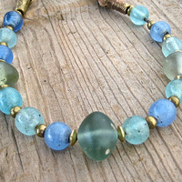 Ocean Blues Glass Necklace Vintage Antique Blue Green Aqua Glass Trade Beads with African Brass on Leather Ethnic Jewelry