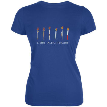 Evolution of the Olympic Torches Royal Juniors Soft T-Shirt