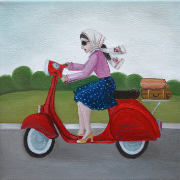Original Oil Painting,Figures,Figurative Art,Red Scooter,Vespa,Runaway Mom,Fashion Illustration,Wall Art,Small Oil Painting,Canvas,8x8