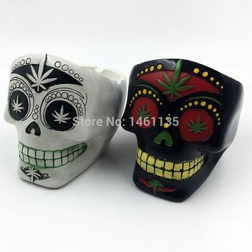 Human Skull Head Ashtray Holder Skull Skeleton Head Resin Statue Art Tobacco pipe ashtray