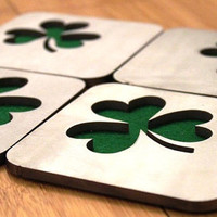 Emerald Isle Shamrock Coasters, St. Patrick's Day, Ireland, Irish, Green, Lucky