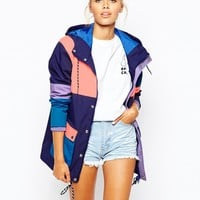 Lazy Oaf Hooded Mac Jacket With Multi Colour Block