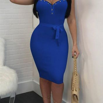 Royal Blue Patchwork Rivet Bow Bandeau Bodycon Clubwear Midi Dress
