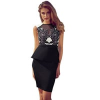 2016 Vintage Embroidery Floral Printed Peplum Dress Women Business Work Office Dress Elegant Sexy Party Bodycon Dresses C2142