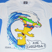 90s Bart Simpson Surfing Aye Carumba Original 1989 t-shirt Youth Small 6-8