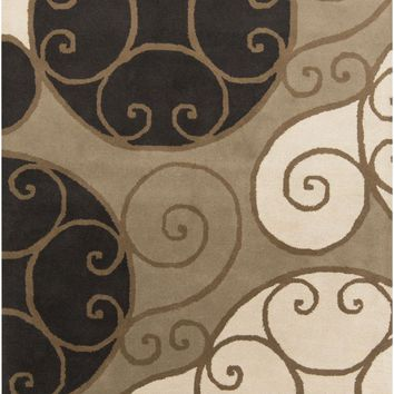 Athena Medallion and Damasks Area Rug Neutral, Black