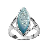 Sterling Silver Pariba Drusy Marquise Ring