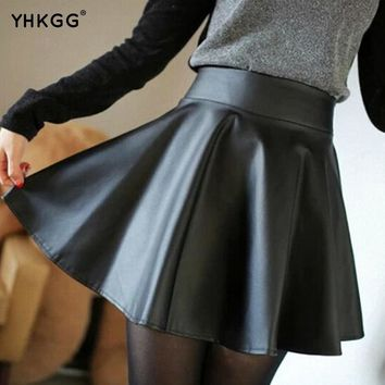 The new high waisted artificial leather mini skirt in Skating Skirt above the Knee Skirt pleated leather skirt
