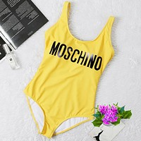 Moschino Fashion Women Vest Type One Piece Bikini Yellow
