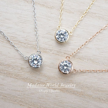 Clear Cubic Zirconia Bezel Set Pendant Necklace