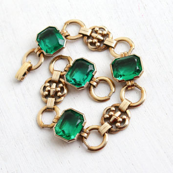 Vintage Art Deco 10k Yellow Gold Filled Emerald Green Stone Bracelet - 1940s Link Jewelry Hallmarked Engel Brothers