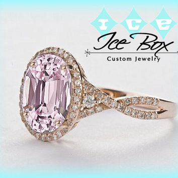 Cultured Pink Sapphire Engagement Ring 2.9ct  7 x 9mm Oval set in a 14k Rose Gold Giamond Halo Twist Shank Setting