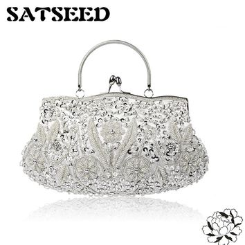 Evening Dess Bags Handbag Embroidered with Beads Vintage Artifact Party Set Clutch Wedding 8colors