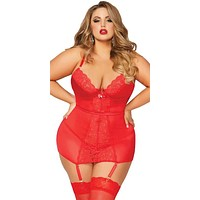 Sexy Plus Size Sext Lace and Mesh Gartered Chemise with Thong