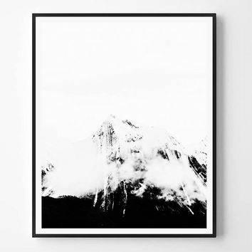 Mountain Print, Nature, Black and White Photography, Minimal photo, Minimalist, Nature Wall Art, Landscape print, Scandinavian Printable Art