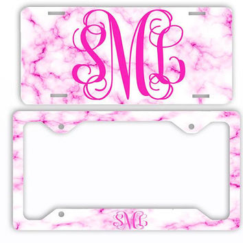 White Hot Pink Marble Look License Plate Car Tag Monogram Frame Personalized Set Custom Initials Car Coasters Rose Blush
