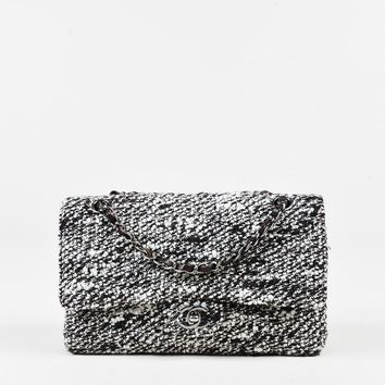 "Chanel Brown Tweed ""Medium Classic Double Flap"" Bag"