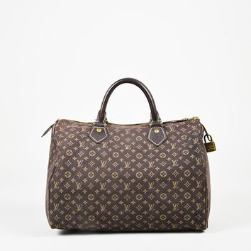 "Louis Vuitton Brown ""Mini Lin"" Monogram Canvas & Leather ""Idylle Speedy"" Bag"