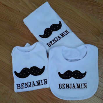 Mustache embroidery baby gift - baby shower gift-  Mustache shirt, mustache bib, mustache burp cloth