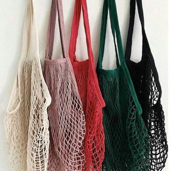 Litthing Brand New 1PC Reusable String Shopping Grocery Bag Shopper Tote Mesh Net Woven Cotton Bag Hand Totes ping