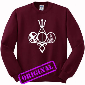 Harry Potter, Percy Jackson, Mortal Instruments, Hunger Games, and Divergent for Sweater maroon, Sweatshirt maroon unisex adult