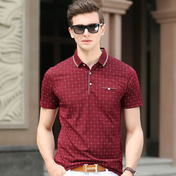 Summer Men's Fashion Classics Plaid Short Sleeve Stylish Casual T-shirts [6542477123]
