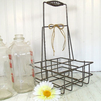 Early Galvanized Metal Oil Can Carrier - Vintage Auto Oil Bottle Holder Tote - Large Metal Basket for Floral Arranging - Repurposing Ready