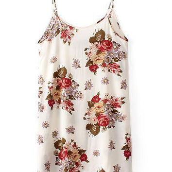 Strappy Floral Pinted Mini Skater Dress