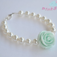 Mint Rose and Ivory Pearls Bracelet - Handmade by PinkSugArt