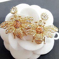 GUCCI Stylish Women Delicate Shiny Diamond Bee Earrings Accessories Jewelry