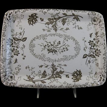 English Victorian Chelsea Brown Transferware Platter Aesthetic Movement P B & S