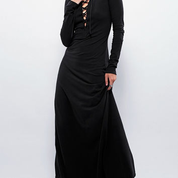 Black Long Lace-Up Dress