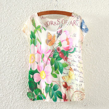White Short Sleeve Flower&Butterfly Casual Print T-Shirt