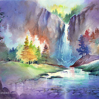 Waterfall Watercolor Landscape Painting Print by Michael David Sorensen. Trees. Falls. Stream. Colorful. Blue. Purple. Watercolor Artwork.