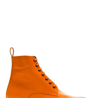 Dsquared2 Orange Leather Lace Up Combat Boot