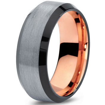 8mm Silver Brushed Rose Gold Tungsten Beveled Black
