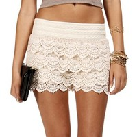 Ivory Pull On Crochet Short