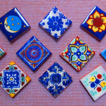 10 Mexican Tile Talavera Handmade talavera tile 1x1 mosaic craft tiles construction tribal tile magnet