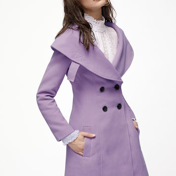 Purple Wide Shawl Collar Double Breasted Princess Coat | MakeMeChic.COM