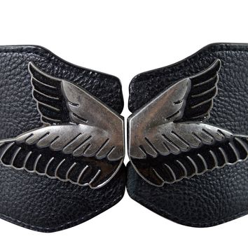 Rockabilly Metal Bird Wings Accent Elastic Fabric Wide Belt Waistband Cinch Black