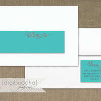 Tiffany Blue & Silver Glitter Envelope Wrap Address Label Sparkly Silver Glitter Look Printable Glam PDF Wraparound DIY Address Labels- Mila