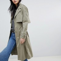 Soaked In Luxury Cupro Trench Coat at asos.com