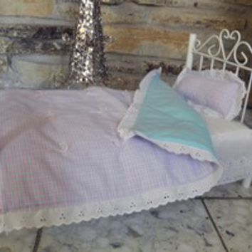 "Handmade Pink/Blue Check Doll Quilt and Pillow for 18"" Soft Bodied dolls"