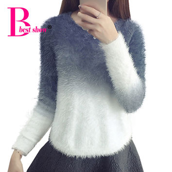 Mohair Sweater Women 2016 Autumn Winter Thicken Warm Knitted Pullover Korean Style Long Sleeve Casual Loose Sweaters Knitwear