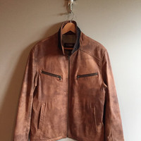 Vintage 80s Danier Brown Distressed Leather Coat Lined Zipper Pockets Moto Motorcycle Size Medium Inside Pockets Rust