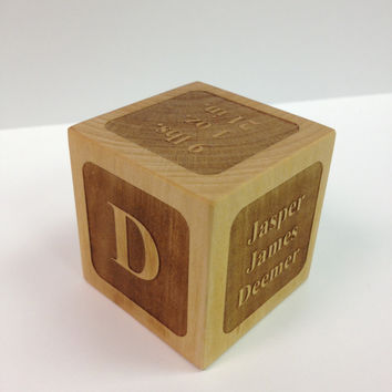 Personalized Laser Engraved Wooden Baby Block