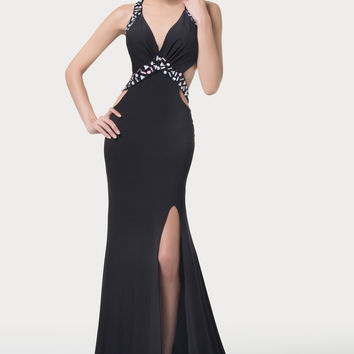 Black Deep V-Neck Beaded Cutout Slit Mermaid Evening Dress