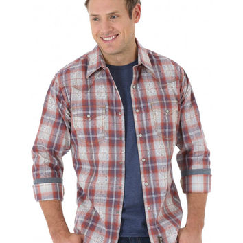 Wrangler Men's Retro L/S Red Plaid Snap Western Shirt